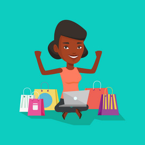 African-american woman with hands up using laptop for shopping online. Happy woman sitting with shopping bags around her. Woman doing online shopping. Vector flat design illustration. Square layout.