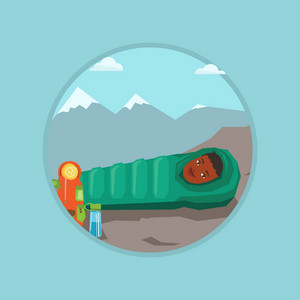 African-american woman wrapped up in a mummy sleeping bag. Happy woman relaxing in a sleeping bag while camping in the mountains. Vector flat design illustration in the circle isolated on background.