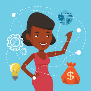 African-american woman writing on virtual screen. Cheerful businesswoman drawing a cloud computing diagram on a virtual screen. Cloud computing concept. Vector flat design illustration. Square layout.