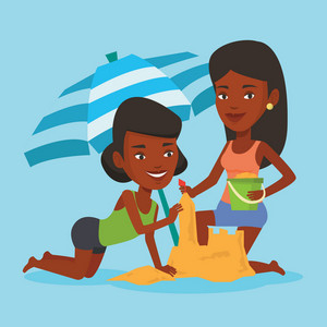 African-american women making sand castle on the beach under beach umbrella. Smiling friends building sand castle. Tourism and beach holiday concept. Vector flat design illustration. Square layout.