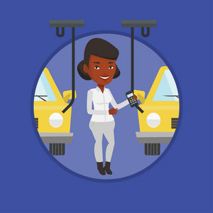 African-american worker of car factory. Happy engineer at work on car factory. Worker controlling automated assembly line for cars. Vector flat design illustration in the circle isolated on background