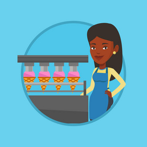 African-american worker of factory producing ice-cream. Young confectioner working on automatic production line of ice cream. Vector flat design illustration in the circle isolated on background.