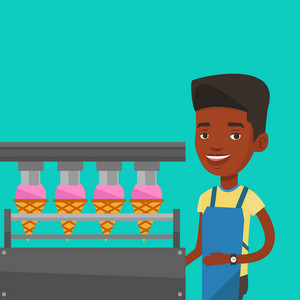African-american worker of ice cream manufacture. Worker of factory producing ice-cream. Confectioner working on automatic production line of ice cream. Vector flat design illustration. Square layout.