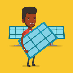 African-american worker of solar power plant holding solar panel in hands. Vector flat design illustration. Square layout