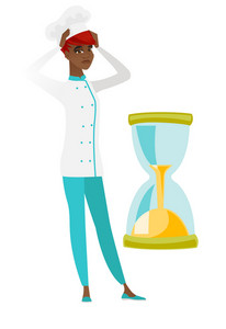 African-american worried chef cook clutching her head while looking at hourglass. Chef cook concerned by the end of countdown of hourglass. Vector flat design illustration isolated on white background