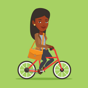 African-american young business woman riding a bicycle. Cyclist riding a bicycle. Business woman with briefcase on a bicycle. Healthy lifestyle concept. Vector flat design illustration. Square layout.