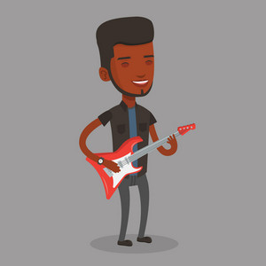 African-american young musician playing electric guitar. Happy man practicing in playing guitar. Guitarist with her eyes closed playing music on guitar. Vector flat design illustration. Square layout.