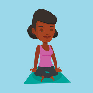 African-american young sportswoman meditating in yoga lotus pose. Sportswoman relaxing in the yoga lotus position. Sporty woman doing yoga on the mat. Vector flat design illustration. Square layout.