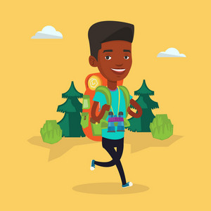 African backpacker with backpack and binoculars walking outdoor. Backpacker hiking in the forest during summer trip. Backpacker traveling in nature. Vector flat design illustration. Square layout.