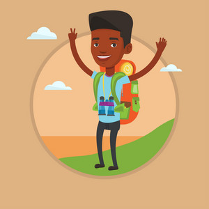 African backpacker with raised hands enjoying the scenery. Tourist with backpack standing on the cliff and celebrating success. Vector flat design illustration in the circle isolated on background.