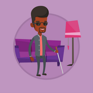 African blind man standing with walking stick. Blind man in dark glasses standing with cane at home. Blind man walking with stick. Vector flat design illustration in the circle isolated on background.
