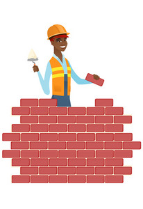 African bricklayer in uniform and hard hat. Bicklayer working with spatula and brick on construction site. Bricklayer building brick wall. Vector flat design illustration isolated on white background.