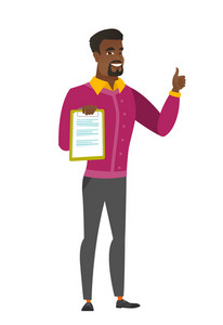 African business man holding clipboard and giving thumb up. Full length of business man with clipboard. Business man showing clipboard. Vector flat design illustration isolated on white background.