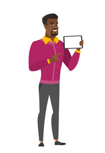 African business man holding tablet computer. Full length of business man pointing at tablet computer. Business man with tablet computer. Vector flat design illustration isolated on white background