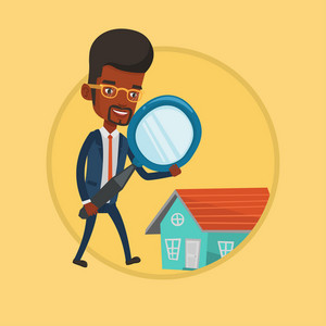 African business man using a magnifying glass for looking for a new house. Business man analyzing house with a magnifying glass. Vector flat design illustration in the circle isolated on background.