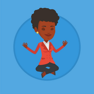 African business woman with eyes closed meditating in yoga lotus position. Business woman relaxing in the yoga lotus position. Vector flat design illustration in the circle isolated on background.