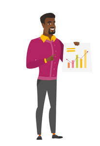 African businessman giving business presentation and showing financial chart. Full length of business man pointing at financial chart. Vector flat design illustration isolated on white background.