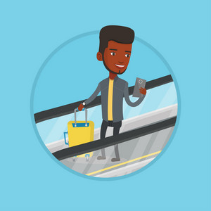 African businessman using smartphone on escalator in airport. Man standing on escalator with suitcase and looking at mobile phone. Vector flat design illustration in the circle isolated on background.
