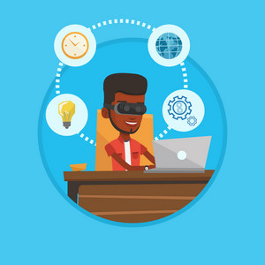 African businessman wearing virtual reality headset and working on computer. Businessman using virtual reality device in office. Vector flat design illustration in the circle isolated on background.