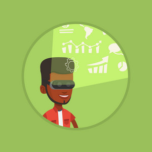 African businessman wearing virtual reality headset, looking at digital display with business graphs and analyzing virtual data. Vector flat design illustration in the circle isolated on background.