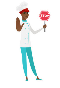 African chef cook showing stop road sign. Full length of chef in uniform holding stop road sign. Serious chef cook with stop road sign. Vector flat design illustration isolated on white background.