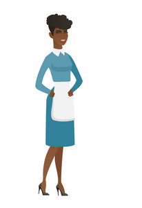 African cleaner in uniform laughing. Full length of young cleaner laughing with hands on her stomach. Cleaner laughing with closed eyes. Vector flat design illustration isolated on white background.