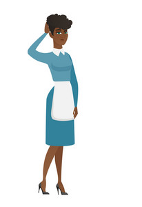 African cleaner in uniform scratching her head. Full length of young thoughtful cleaner scratching head. Puzzled cleaner scratching head. Vector flat design illustration isolated on white background.