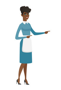 African cleaner pointing to the side. Full length of young cleaner pointing her finger to the side. Cleaner pointing to the right side. Vector flat design illustration isolated on white background.