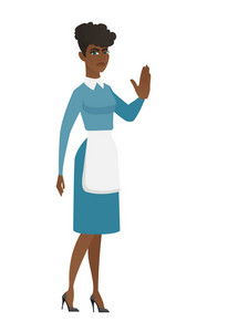 African cleaner showing palm hand. Full length of young serious cleaner showing palm hand. Cleaner in uniform making stop gesture by palm. Vector flat design illustration isolated on white background.