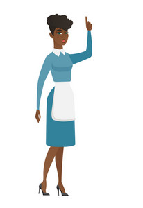 African cleaner with open mouth pointing finger up. Young cleaner with open mouth came up with creative idea. Successful idea concept. Vector flat design illustration isolated on white background.