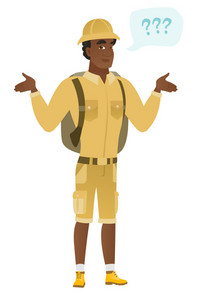 African confused traveler with spread arms. Full length of confused traveler with question marks. Confused traveler shrugging shoulders. Vector flat design illustration isolated on white background.