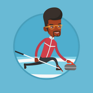 African curling player with stone and broom on a rink. Curling player delivering a stone. Curling player sliding over the ice. Vector flat design illustration in the circle isolated on background.