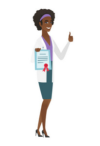 African doctor holding a certificate. Full length of doctor with certificate. Doctor in medical gown showing certificate and thumbs up. Vector flat design illustration isolated on white background.