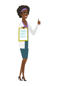 African doctor in medical gown holding clipboard and giving thumb up. Full length of young doctor with clipboard. Doctor showing clipboard. Vector flat design illustration isolated on white background