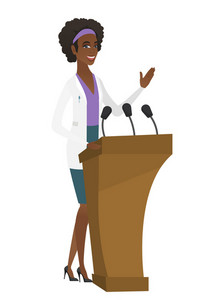 African doctor speaking to audience from tribune. Doctor giving speech from tribune. Doctor standings behind the tribune with microphones. Vector flat design illustration isolated on white background.