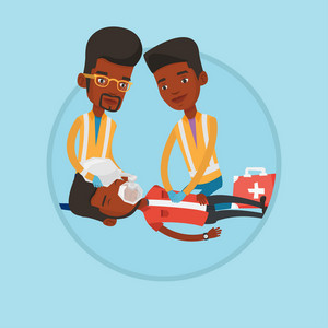 African emergency doctors doing cardiopulmonary resuscitation of a man. Emergency doctors during process of resuscitation of man. Vector flat design illustration in the circle isolated on background.