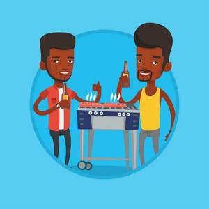 African friends having a barbecue party. Men preparing barbecue and drinking beer. Group of friends having fun at barbecue party. Vector flat design illustration in the circle isolated on background.