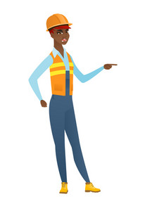 African furious builder screaming and pointing her finger to the right. Full length of aggressive builder screaming and shaking her finger. Vector flat design illustration isolated on white background