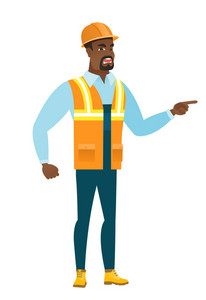 African furious builder screaming and pointing his finger to the right. Full length of aggressive builder screaming and shaking his finger. Vector flat design illustration isolated on white background
