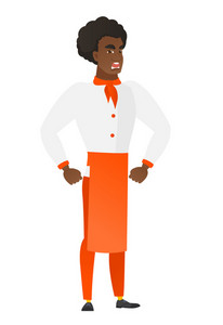 African furious chef cook screaming. Full length of furious chef cook in uniform shouting. Illustration of furious chef cook yelling. Vector flat design illustration isolated on white background.
