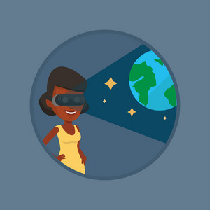 African gamer wearing futuristic virtual reality headset and looking at open space with earth model. Woman playing virtual game. Vector flat design illustration in the circle isolated on background.