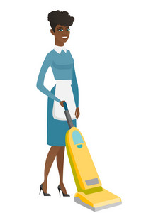 African hotel female chambermaid in uniform cleaning floor with a vacuum cleaner. Full length of young chambermaid with a vacuum cleaner. Vector flat design illustration isolated on white background.