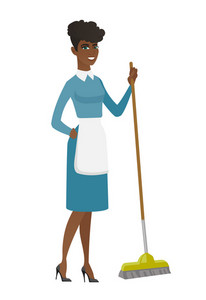 African housemaid in uniform doing housework with a broom. Young housemaid sweeping floor with a broom. Housemaid holding broom in hand. Vector flat design illustration isolated on white background.