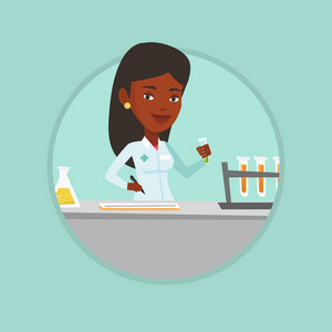 African laboratory assistant analyzing liquid in test tube. Laboratory assistant working with a test tube and taking some notes. Vector flat design illustration in the circle isolated on background.