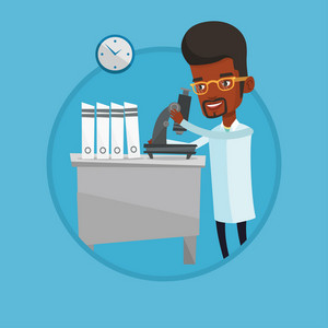 African laboratory assistant working with microscope. Scientist working at laboratory. Laboratory assistant using a microscope. Vector flat design illustration in the circle isolated on background.
