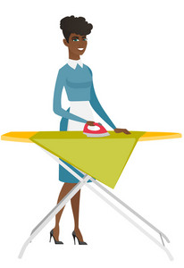 African maid ironing clothes using iron on ironing board after laundry. Full length of young hotel maid ironing clothes on ironing board. Vector flat design illustration isolated on white background.