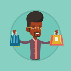 African man carrying shopping bags. Man holding shopping bags. Man standing with a lot of shopping bags. Guy showing his purchases. Vector flat design illustration in the circle isolated on background