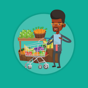 African man checking shopping list. Man holding shopping list near shopping trolley with products. Man writing in shopping list. Vector flat design illustration in the circle isolated on background.