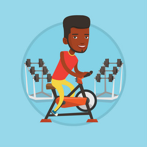 African man exercising on stationary training bicycle. Man riding stationary bicycle in the gym. Man training on exercise bicycle. Vector flat design illustration in the circle isolated on background.