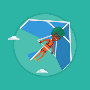 African man flying on hang-glider. Sportsman taking part in hang gliding competitions. Man having fun while gliding on hang-glider. Vector flat design illustration in circle isolated on background.